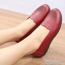 一腳蹬皮鞋春秋媽媽鞋子牛筋軟底平底單鞋中婦女老皮鞋黑色奶奶鞋一腳 快速出貨