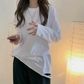 (下殺)自製韓版簡約寬鬆破洞字母慵懶風疊穿純棉長袖上衣T【08SG04592】