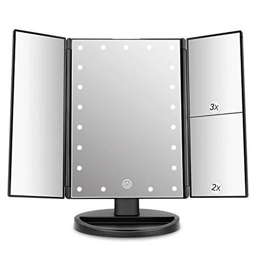DeWEISN Tri-Fold點亮式梳妝鏡 帶21個LED燈 觸摸螢幕 放大倍率 黑色