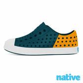 native JEFFERSON BLOCK CHILD 奶油頭鞋-深海藍x飛鏢黃(小童)