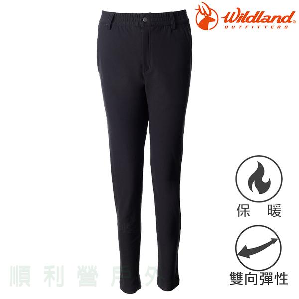 荒野 WILDLAND 女款彈性腰頭鬆緊帶九分褲 0A72311 黑色 保暖褲 刷毛褲 OUTDOOR NICE