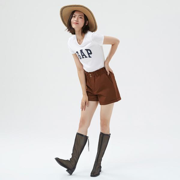 Gap女裝 LOGO時尚印花短袖T恤 268820-俏皮象牙白色