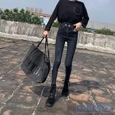 緊身牛仔褲 高腰緊身黑色加絨牛仔褲女2020新款修身鉛筆小腳褲子