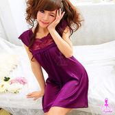 【性感寶盒】★綺麗浪漫!小蓋袖睡襯衣★紫┌NA11020025-1