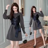 超殺29折 韓系復古假兩件收腰顯瘦高端氣質長袖洋裝