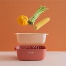 北歐風雙層拚色瀝水籃 蔬菜 水果 洗菜 瀝乾 過濾 清洗 滴水篩 通風 晾乾 大【AN SHOP】