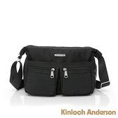 金安德森 Sussex 線性壓紋雙口袋多夾層斜側包-黑色