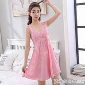 吊帶睡衣女夏季天性感冰絲長款可外穿可愛蕾絲綢寬鬆孕婦大碼睡裙  印象家品旗艦店