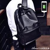 雙肩包男潮商務休閒時尚旅行電腦背包簡約學生校園大容量女皮書包快速出貨