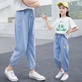 女童防蚊褲薄款九分牛仔褲夏季中大童兒童洋氣寬鬆休閒褲子韓版潮 快速出貨