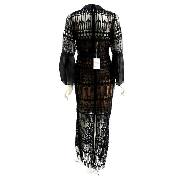 【self-portrait】黑色長袖襯衫領雪紡蕾絲拖地長洋裝 SP9034