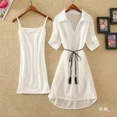 套裝裙子女夏新款正韓打底裙吊帶裙兩件套裝純色雪紡裙時尚連身裙S-XL