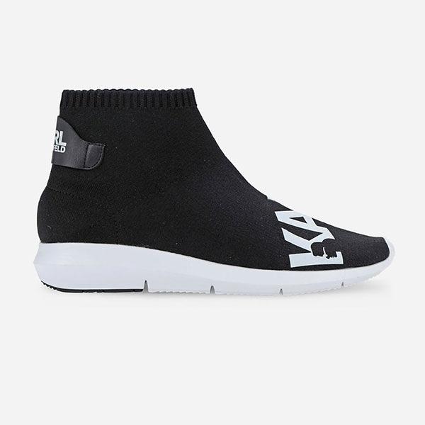 Karl Lagerfeld 卡爾 老佛爺 女鞋 VITESSE高筒襪套LOGO休閒運動鞋-黑