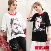 寬鬆中長款織帶學院風T恤 M-2XL O-Ker歐珂兒 149833-1-C