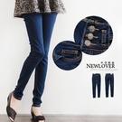 窄管褲NEWLOVER【166-6798】韓版雜誌款變體3排釦嚴選深藍牛仔窄管褲S-M號