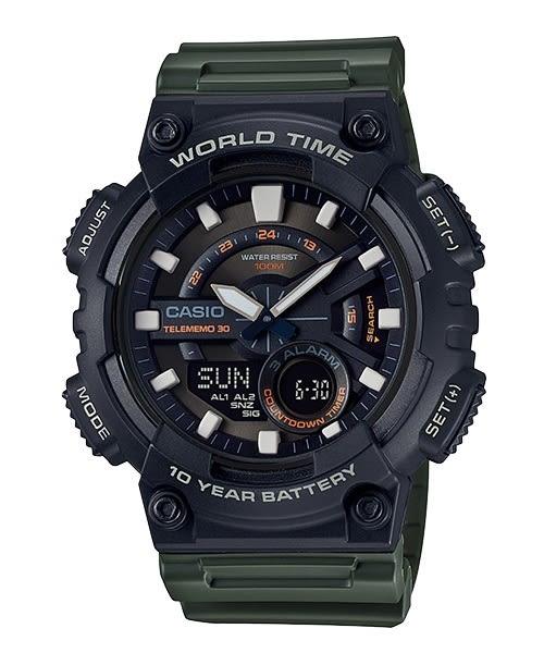 【CASIO宏崑時計】CASIO卡西歐運動雙顯電子錶 AEQ-110W-3A 100米防水 52.2mm 台灣卡西歐保固一年