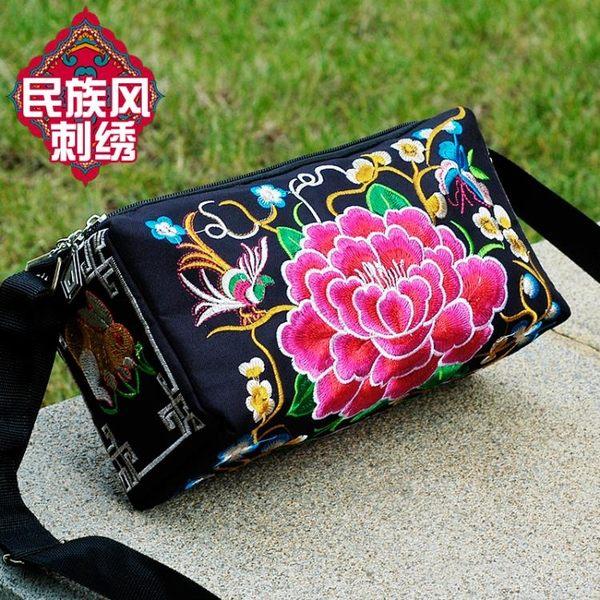 刺繡包2019云南民族風刺繡花包包帆布休閒簡約女士三層側背斜背包 爾碩數位3c