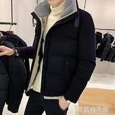 棉衣外套 棉衣男士外套冬季新款短款棉襖韓版修身潮流毛領工裝羽絨棉服 快速出貨