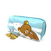 化妝包 旅行包 筆袋 拉拉熊方型收納包 藍色 Rilakkuma 懶懶熊 SAN-X 里和 RIHO