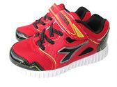 『雙惠鞋櫃』◆DIADORA迪亞多那◆中童款 透氣  輕量 耐磨  酷炫燈運動慢跑鞋◆(DA3982) 紅黑