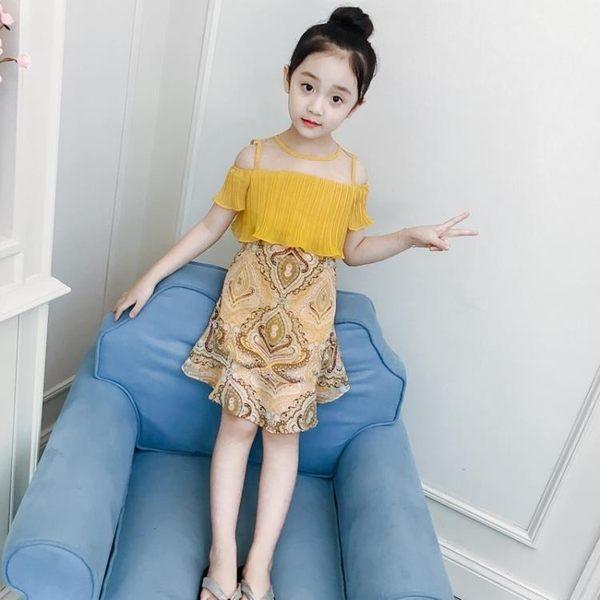女童夏裝洋裝連身裙兒童女孩短袖裙童裝裙子雪紡公主裙