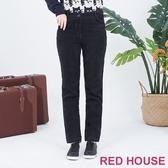【RED HOUSE 蕾赫斯】絨布壓線長褲(黑色)