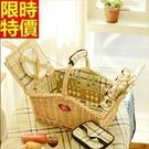 野餐籃餐具組合編織籃子-戶外保溫四人份郊遊用品68e14【時尚巴黎】