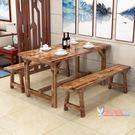 餐桌 碳化實木飯店餐桌椅組合快餐店小吃餐...