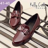大尺碼女鞋-凱莉密碼-氣質學院風漆皮蝴蝶結樂福鞋皮鞋3.5cm(41-46)【BDK6】酒紅