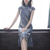 旗袍 2020春夏 中國風 日常 優雅 復古 中長款 印花旗袍