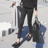 緊身牛仔褲 黑色牛仔褲女2020新款加絨加厚緊身高腰小腳九分褲子