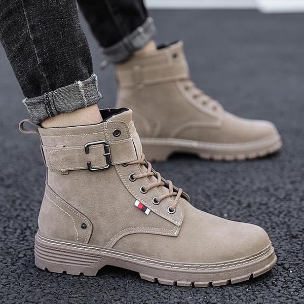 ins加絨馬丁靴男士工裝靴英倫風中幫靴子秋冬季高幫男鞋雪地棉靴 果果輕時尚
