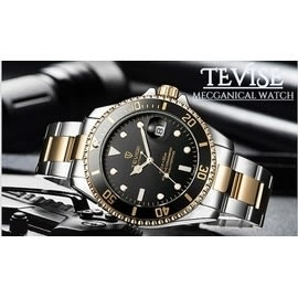 Tevise-中金黑水鬼 特威斯手錶水鬼系列Tevise男錶女錶 中性錶對錶 3ATM生活防水 時尚手錶
