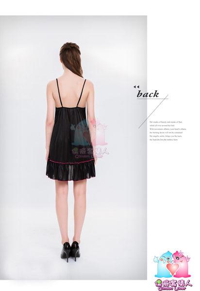 【愛愛雲端】性感睡衣 情趣用品  大尺碼 性感 黑桃撞色 刺繡 柔緞 二件式 睡衣NY16020051
