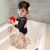 女童泳衣童裝新款夏公主連體黑色蕾絲兒童泳衣女孩寶寶長袖游泳衣
