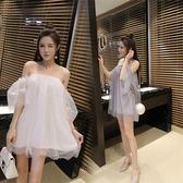 夏季新款直播衣服裝女主播一字領顯瘦抹胸露肩夜店性感連身裙