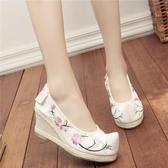 古裝鞋子女古風鞋子女漢服鞋子女坡跟內增高高跟繡花鞋百搭翹頭履