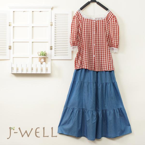 J-WELL 日系格紋小提織蕾絲上衣牛仔裙二件組(組A171 8J1597黃格/紅格/藍格+8J1522中藍)