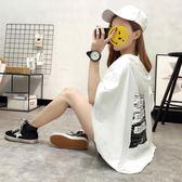 小清新上衣森女系夏裝韓版學生寬鬆連帽中長款短袖t恤女洋裝潮『韓女王』