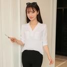 夏季新款v領寬鬆白色襯衫女七分袖休閒百搭套頭襯衣大碼上衣