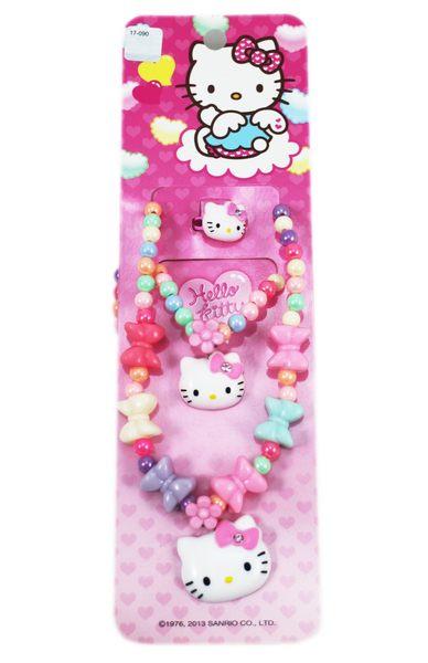 【卡漫城】 Hello Kitty 兒童 飾品三件組 蝴蝶結 顏色隨機 ㊣版 韓版 手鍊 戒指 項鍊 項鏈 手環 首飾