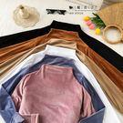 【QV8234】魔衣子-純色半高領絲絨長...