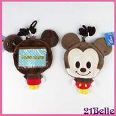 迪士尼米奇 卡通立體造型絨毛零錢包 卡套票夾 大頭卡包附頸掛繩女衣