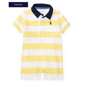 Polo Ralph Lauren polo杉短袖兔子裝 黃橫條 | 男寶寶連身衣(嬰幼兒/baby/新生兒)