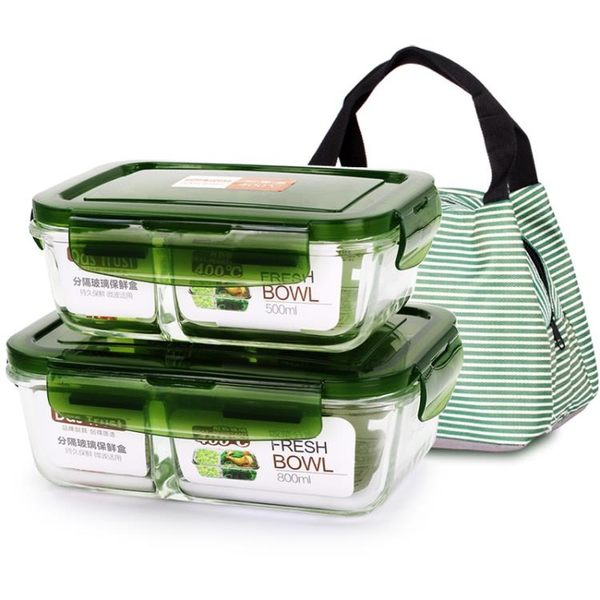 創得耐熱玻璃飯盒微波爐烤箱可用保鮮盒密封碗便當碗【萬聖節推薦】