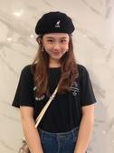 帽子 袋鼠貝雷帽女秋冬韓版日系kangol畫家帽網紅羊毛新款蓓蕾帽子英倫 歐歐