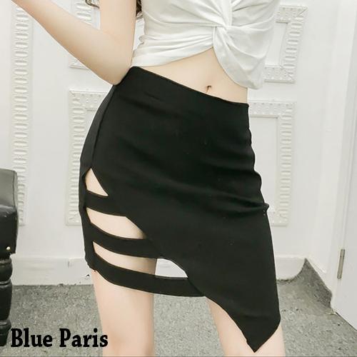 【藍色巴黎】 韓版性感不規則簍空包臀窄裙/短裙 【23352】