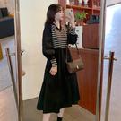 大碼長袖洋裝 連身裙 禮服年新款秋季胖mm寬松顯瘦長袖V領拼接氣質時尚2F041-C胖妹