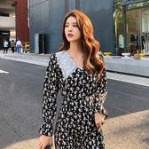 大韓訂製日系小清新女裝長袖洋裝蕾絲衣領淑女長裙縮腰中長