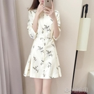 時尚洋裝 秋季新款女裝韓版碎花氣質修身a字裙長袖印花襯衫連衣裙打底 快速出貨